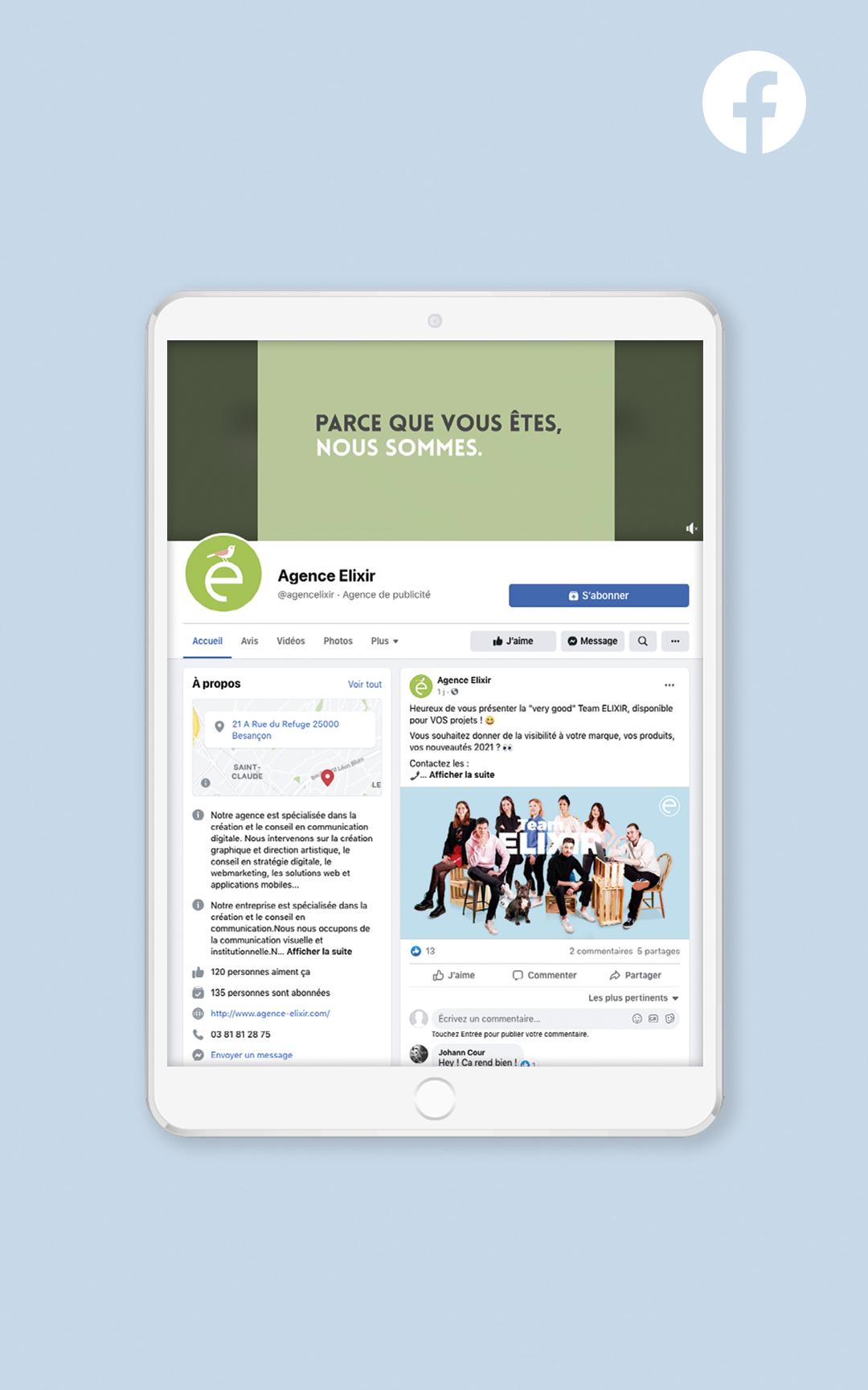 Création d'un compte Facebook pour l'agence Elixir