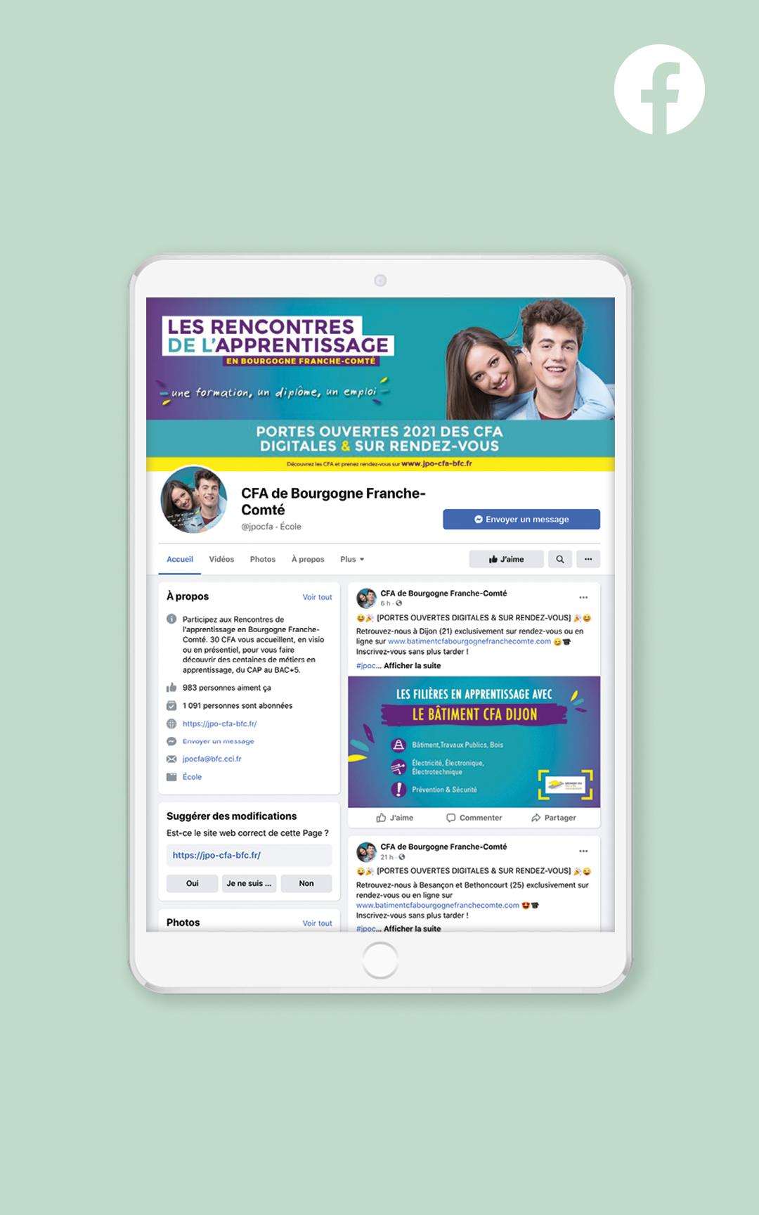 Création d'un compte Facebook pour les rencontres de l'apprentissage en BFC