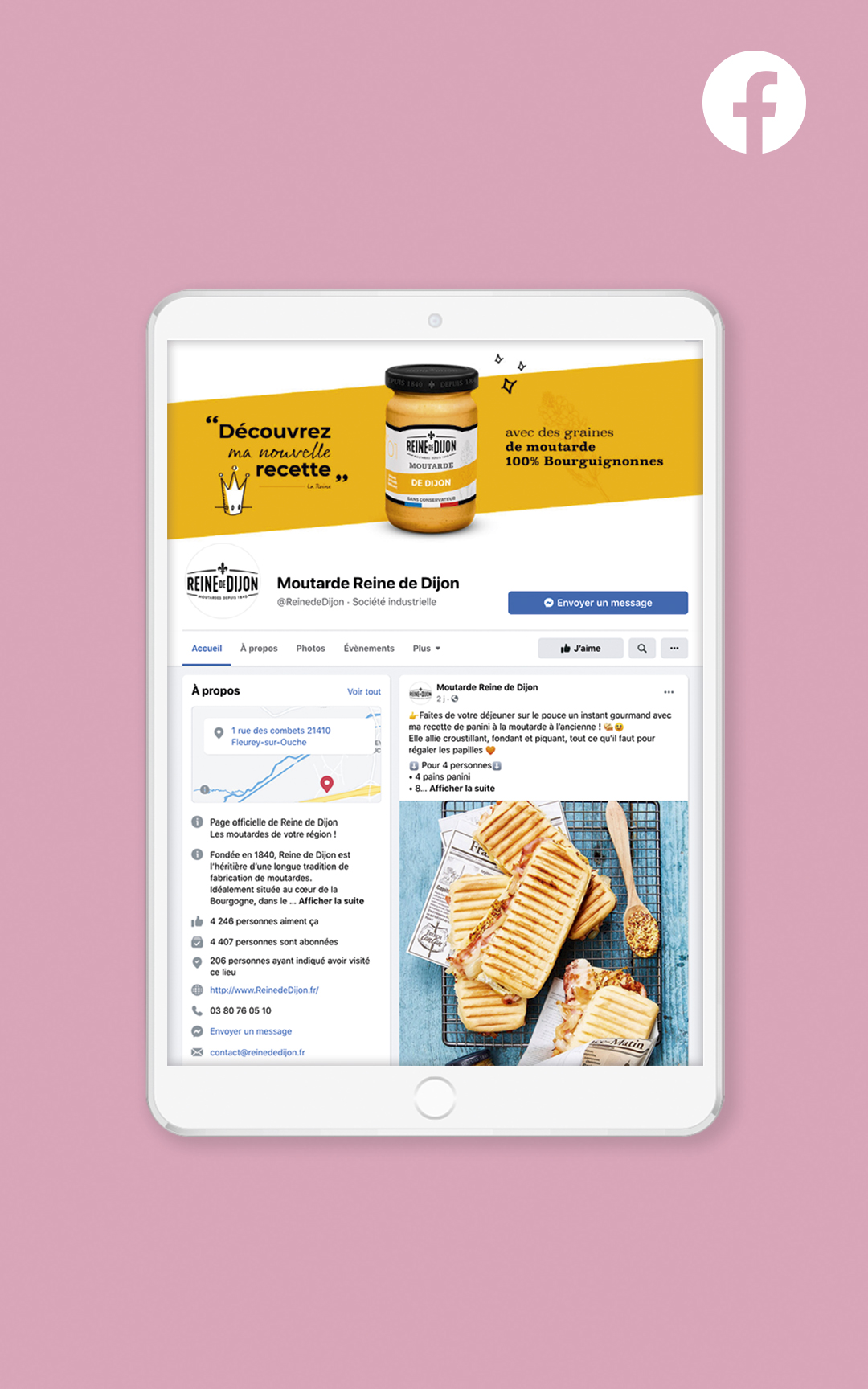 Création d'un compte Facebook pour Reine de Dijon