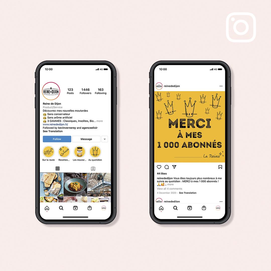 Création d'un compte Instagram pour Reine de Dijon